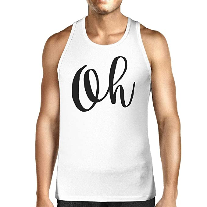 12d5504313c91 Image Unavailable. Image not available for. Color  365 Printing Oh Mens  White Sleeveless Shirt Calligraphy Gym ...
