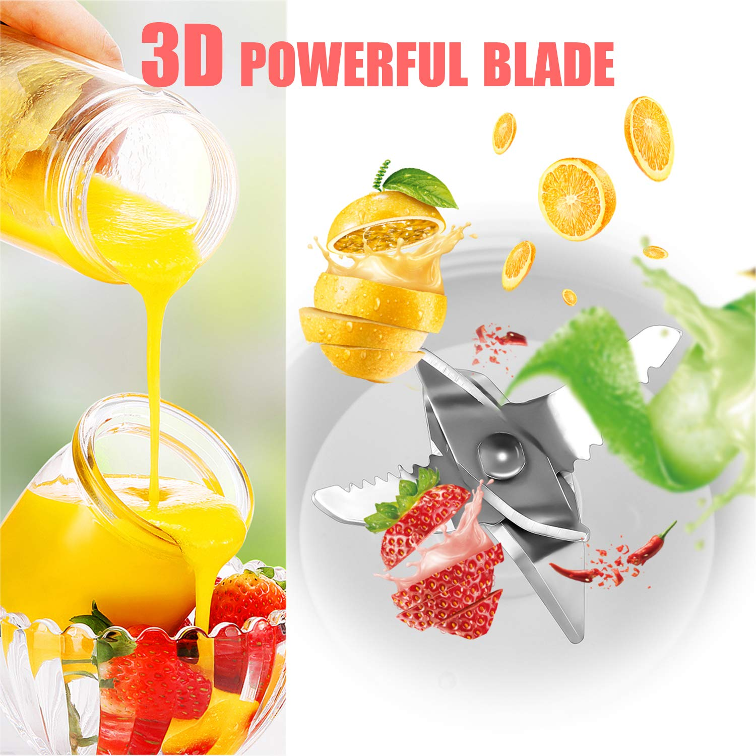 Rynal Portable Blender Cup 3D Blades Smoothie Juicer 13oz Personal Fruit Mixing Machine with 2000mAh USB Rechargeable Battery