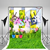 5x7ft Happy Easter Photography Backdrops Natural Scenery Grass Green Flowers Photo Studio Background for Children Spring Backdrop