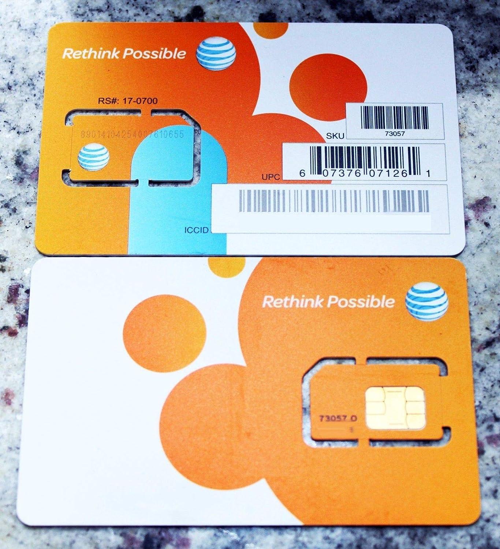 AT&T Wireless Newest 3G / 4G / LTE Sim Card - Postpaid /Go Phone Prepaid - SKU 73057 ATT Sim