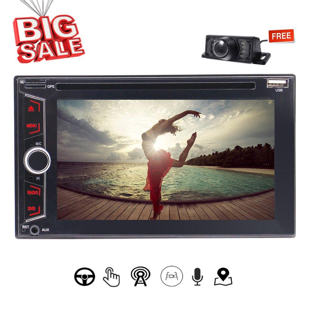 容量性タッチスクリーンワイヤレスリモコン+無料8ギガバイト地図カード/バックアップカメラとUIのカーステレオラジオのBluetooth GPSプレーヤーMP3のUSB SDカード3種類のダッシュAutoradioで6.2インチDVD CDプレーヤー B079KBV17H