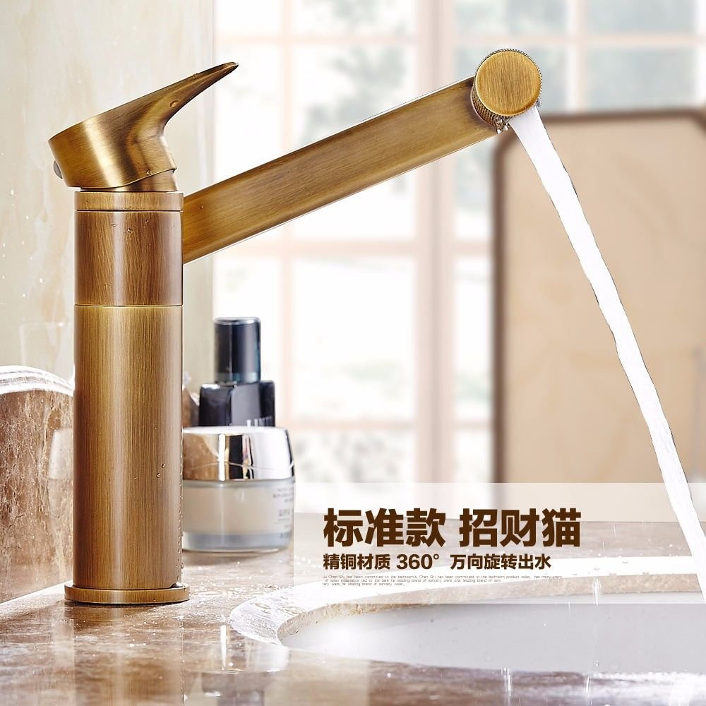 ETERNAL QUALITY Bathroom Sink Basin Tap Brass Mixer Tap Washroom Mixer Faucet Antique basin cold water tap full copper thick wash basin washbasin, Bidet mixer console can be redated Kitchen Sink Taps
