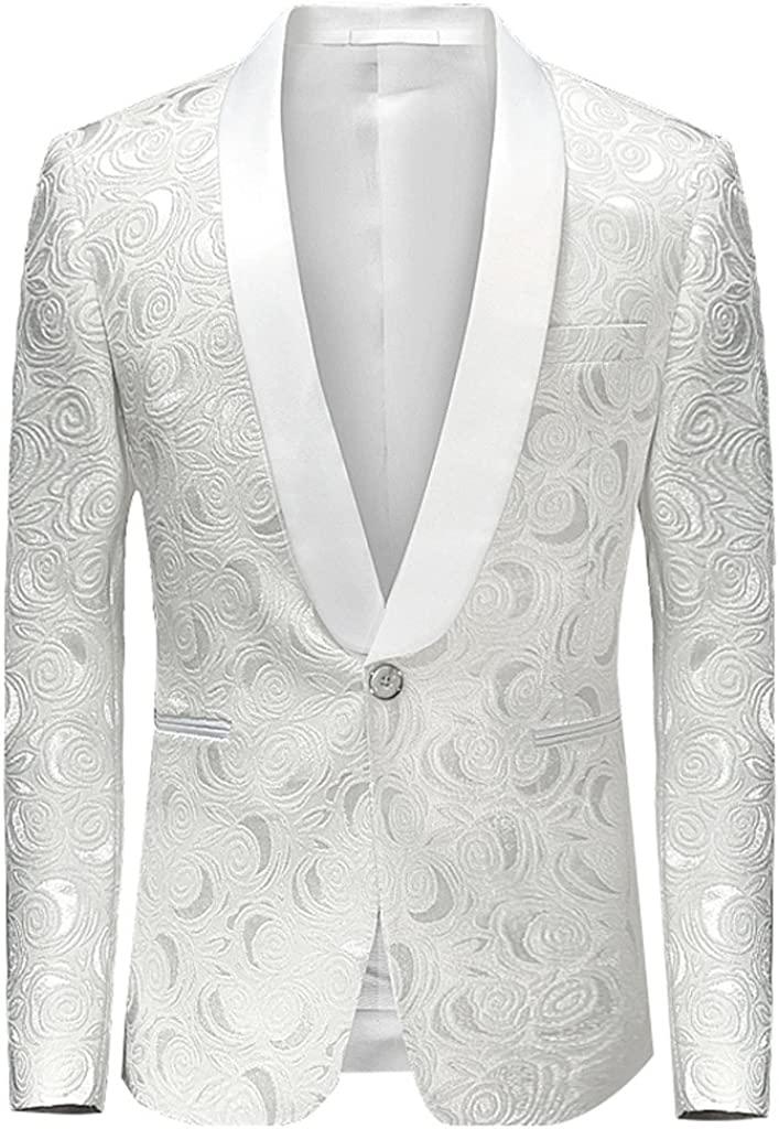 Vchomi Men's White Patterned Casual Sport Coat