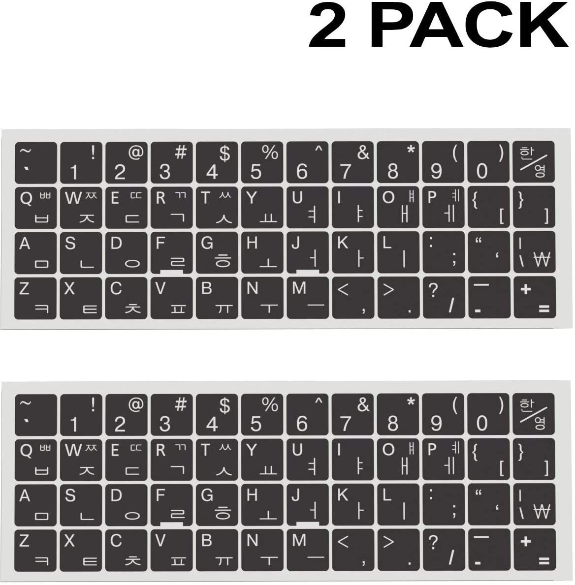 2-Pack Universal Korean Keyboard Stickers, Replacement Korean English Keyboard Stickers with Black Background and White Lettering for Notebook Desktop Computer Laptops (Korean)