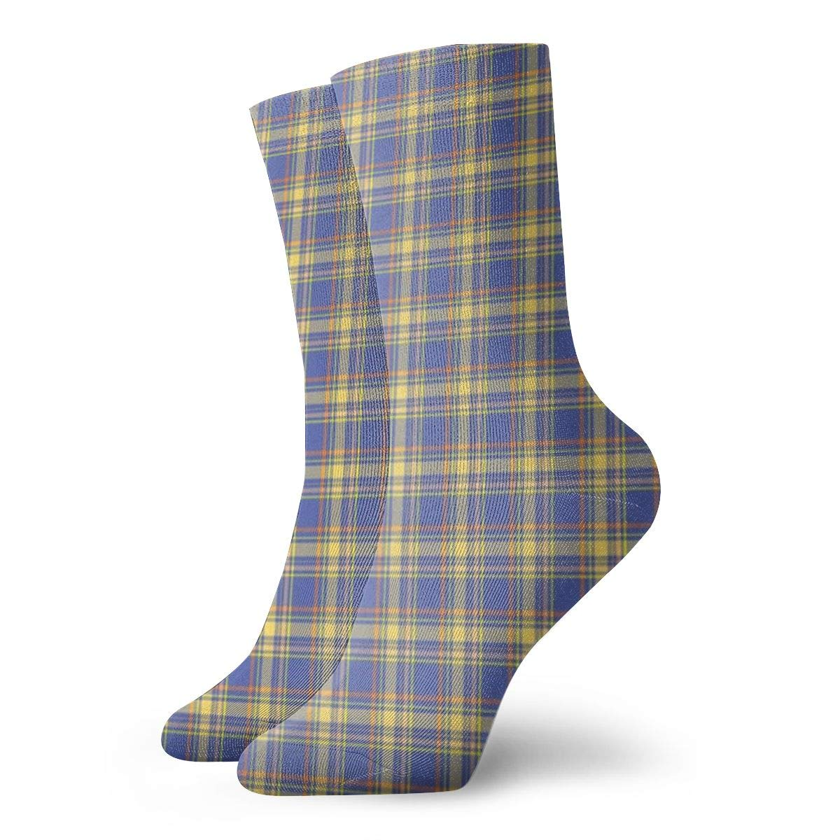 Blue-Plaid Unisex Funny Casual Crew Socks Athletic Socks For Boys Girls Kids Teenagers