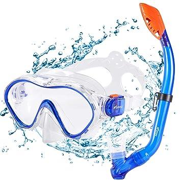 10e62dffc952d Kuyou Premium Kinder Schnorchelset Taucherbrille mit Schnorchel Tauchset  gehärtete Anti-Beschlag Gläser Taucherbrille wasserdichte Tauchmaske