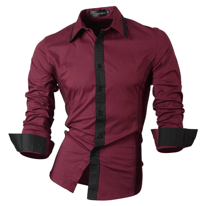 Jeansian Los Hombres De Delgado Fit Manga Larga Casual Camisas