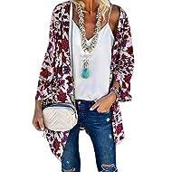 Sidefeel Women Print Kimono Cardigan V Neck Loose Beach Cover Up