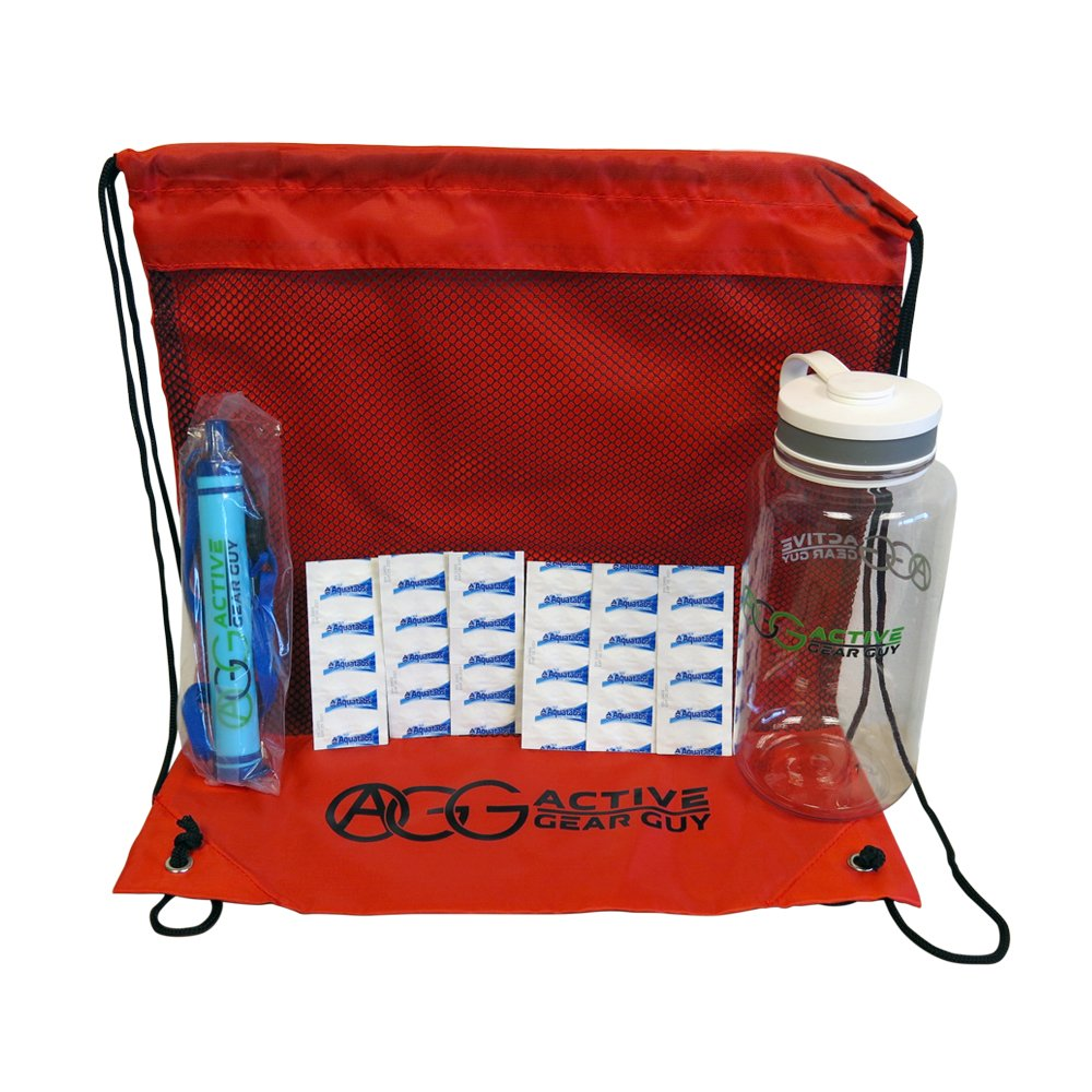Active Gear Guy Portable Water Filter Kit for Travel, Hiking, and Camping. Perfect for Your Bug Out Bag or Emergency Kit. Includes Water Filter Straw and Sterilizing Tablets.