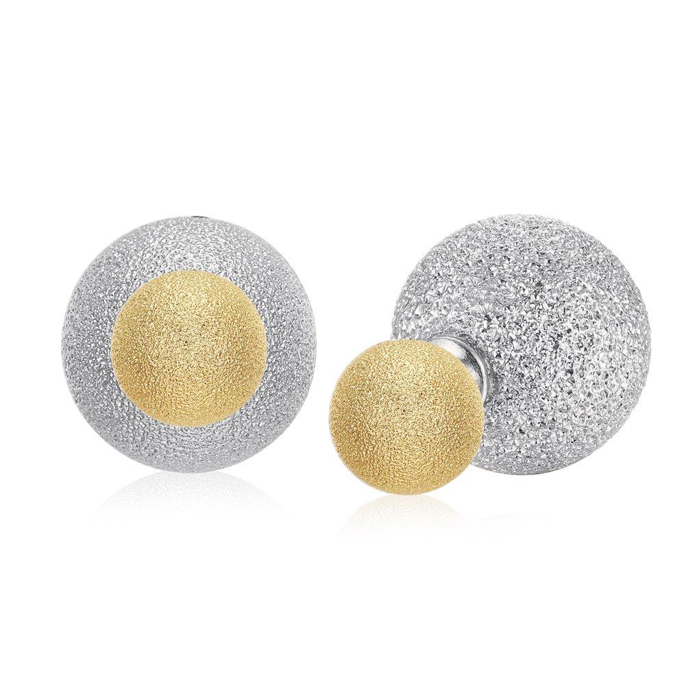 Two Tone Double Sided Earrings Shine Stardust Textured Balls Stud Earrings for Women,Silver/Gold
