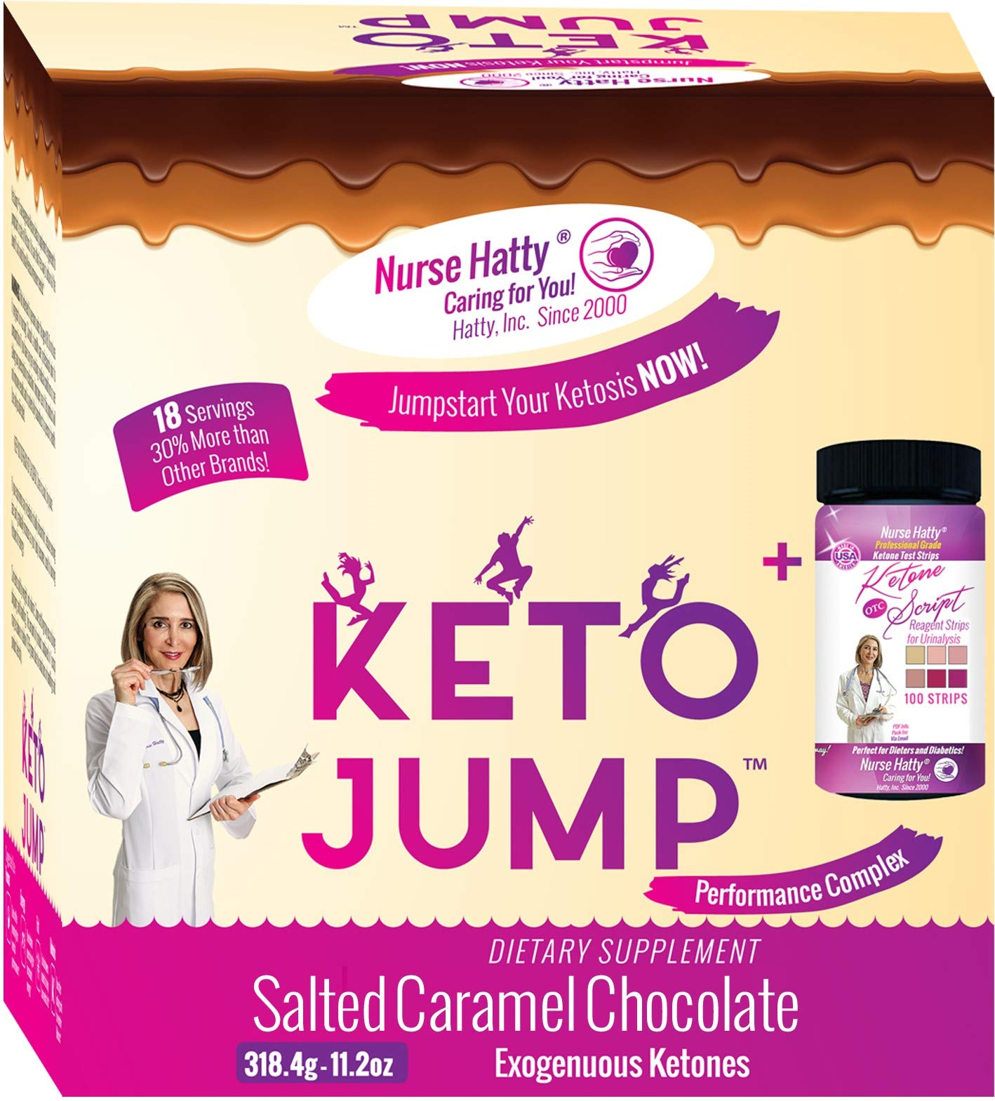 Nurse Hatty ® KetoJump BHB SALTS + KETONE STRIPS - Exogenous Ketones - Beta-Hydroxybutyrates - USA-made & PATENTED for the Ketogenic Diet (Calcium, Sodium, Magnesium & Potassium) 18 serv. Choc Caramel by Nurse Hatty