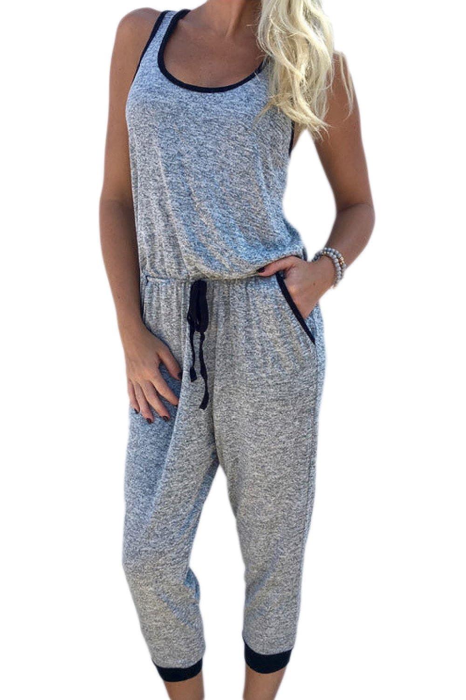 Vosujotis Women Casual Jumpsuit Belts Loose Tank Top Playsuits