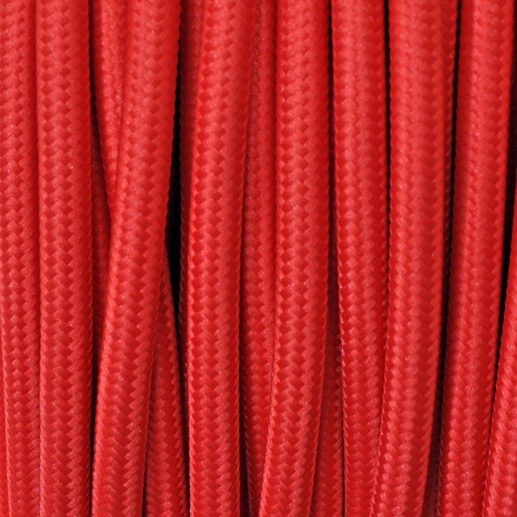 Cavo elettrico tondo rivestito in tessuto colorato per lampadari, lampade, abat jour. Il cavo elettrico diventa design! Scegli fra 30 colori. 5 Metri 2x0,75. Made in Italy! Rosso Merlotti Cavi