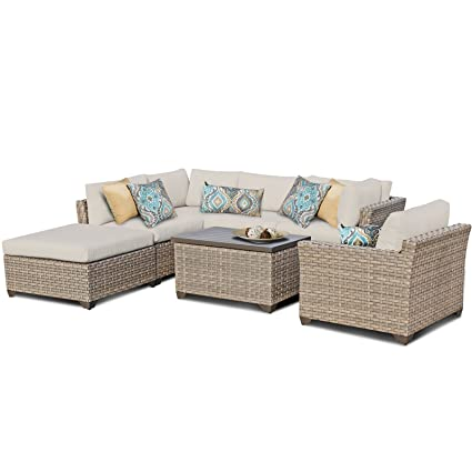 Amazon Com Tk Classics Monterey 7 Piece Outdoor Wicker Patio