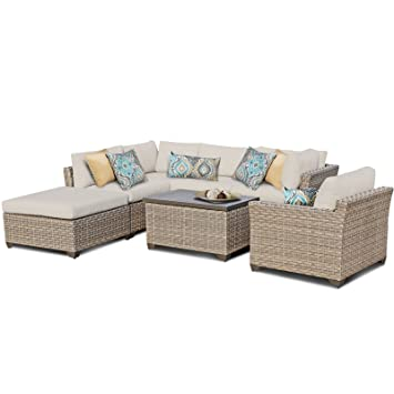 tk classics monterey 7 piece outdoor wicker patio furniture set 07d beige