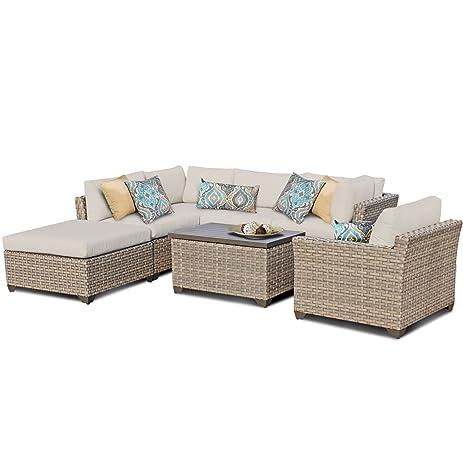 TK Classics Monterey 7 Piece Outdoor Wicker Patio Furniture Set 07d, Beige