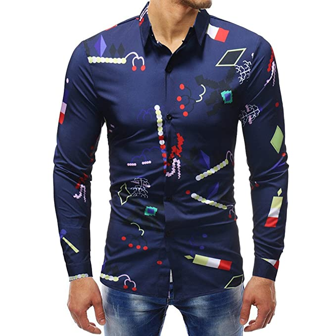 YanHoo Blusa Impresa de la Manera del Hombre Camisas Ocasionales de Manga Larga Slim Tops Moda Casual Delgado y Guapo: Amazon.es: Ropa y accesorios