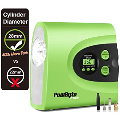 PowRyte Portable Air Compressor,Digital Tire Inflator with 12VDC 150PSI Tire Pump,40% Faster on Inflating, 28mm Larger on Cylinder Than Other Brand which 22mm in Plastic Housing Inflator: Automotive