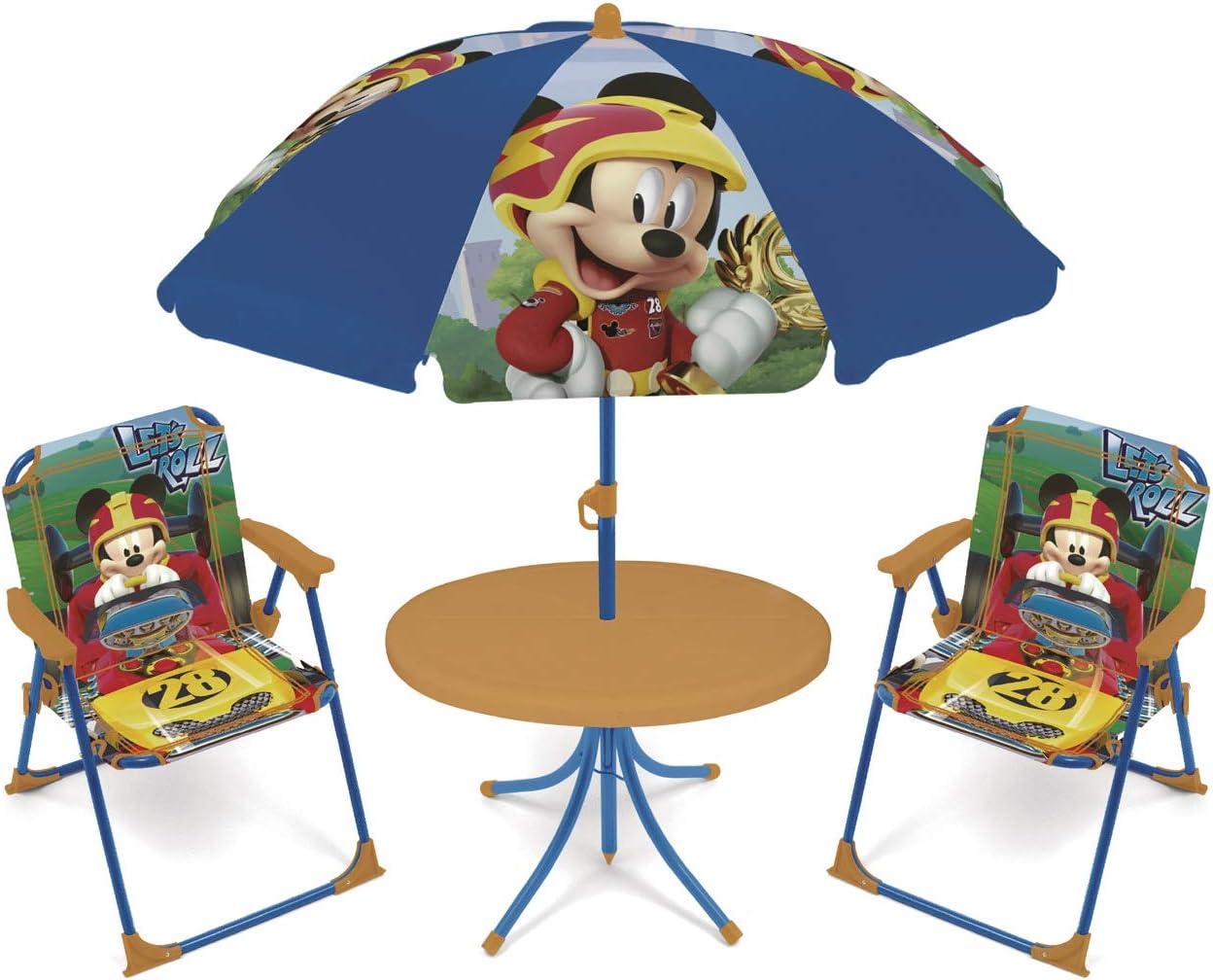 ARDITEX WD12492 Set de Mesa (50x50x48cm), 2 Sillas (38x32x53cm) y Sombrilla (diámetro 110cm) de Disney-Mickey