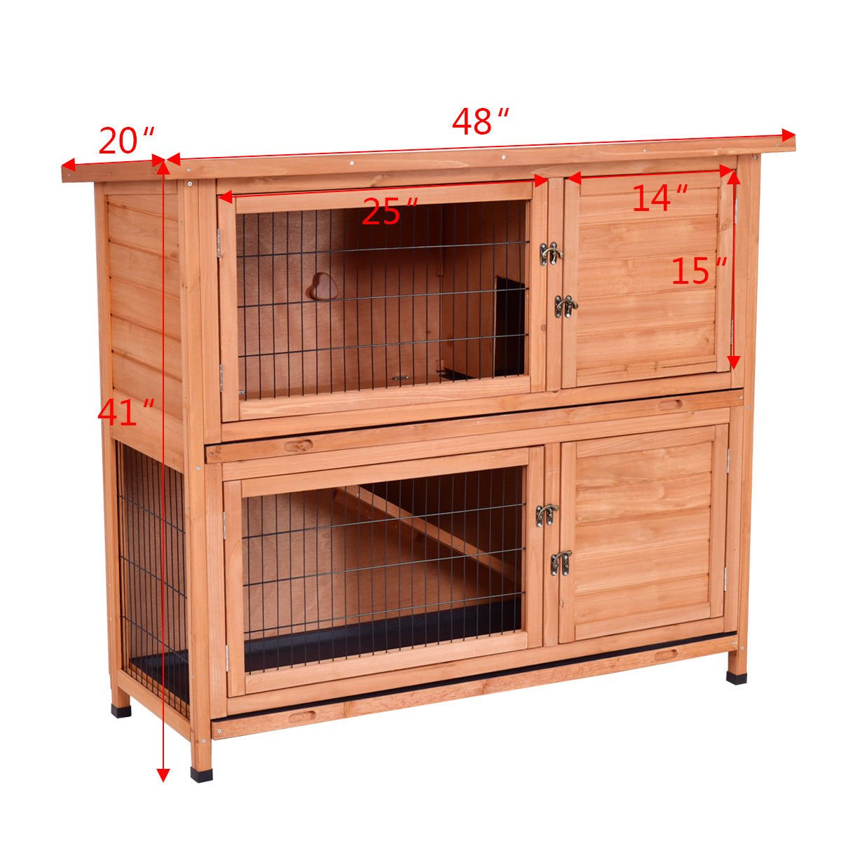 Tangkula Chicken Coop 48'' Rabbit Hutch Wooden Garden Backyard Bunny Hen House Pet Supplies with Ladder by Tangkula (Image #5)