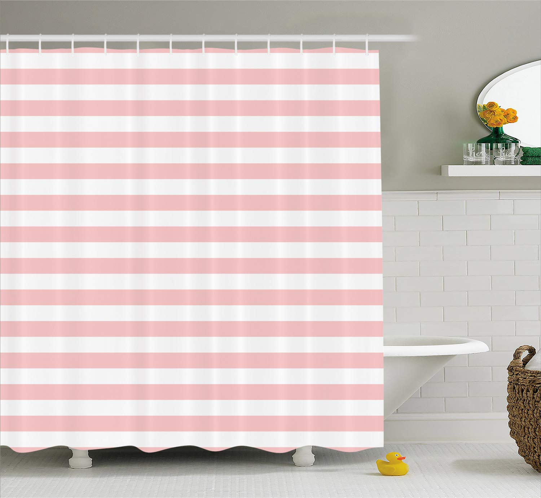 Lunarable Blush Shower Curtain Retro Style Pastel Colored Pink Stripes On White Background Vintage Geometric Design Fabric Bathroom Decor Set With Hooks