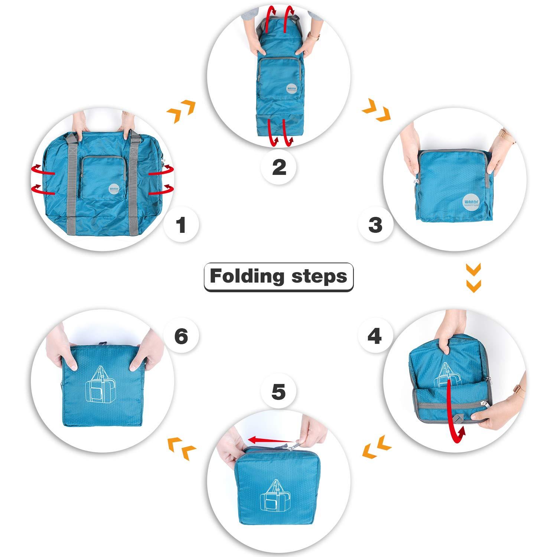 73c769900983 Wandf Foldable Travel Duffel Bag Luggage Sports Gym Water Resistant Nylon
