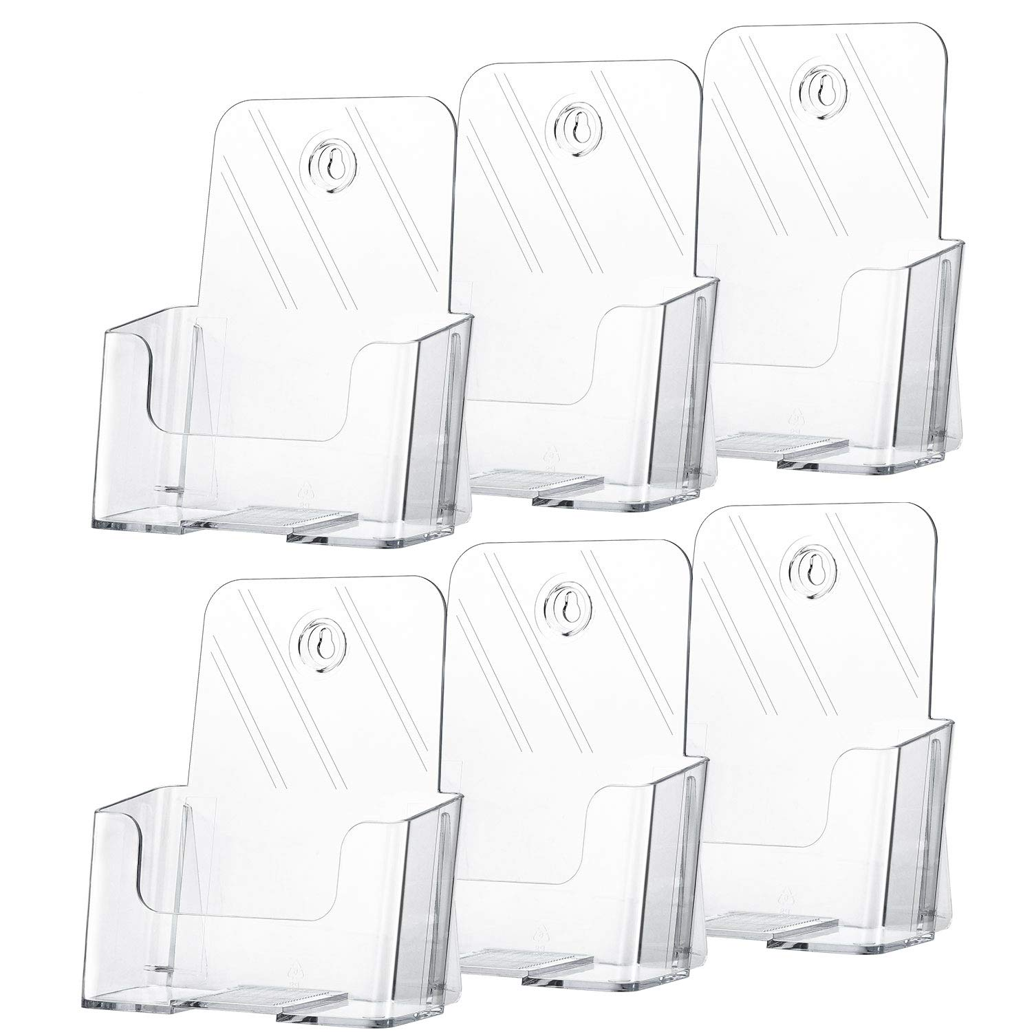 MaxGear 6 Pack Acrylic Brochure Holder 6 x 8 Inches Plastic Magazine Holder, Clear Literature Holder Trifold Pamphlet Display Stand for Wall Mount or Countertop, with 6 Pack Clear Business Card Holder by MaxGear