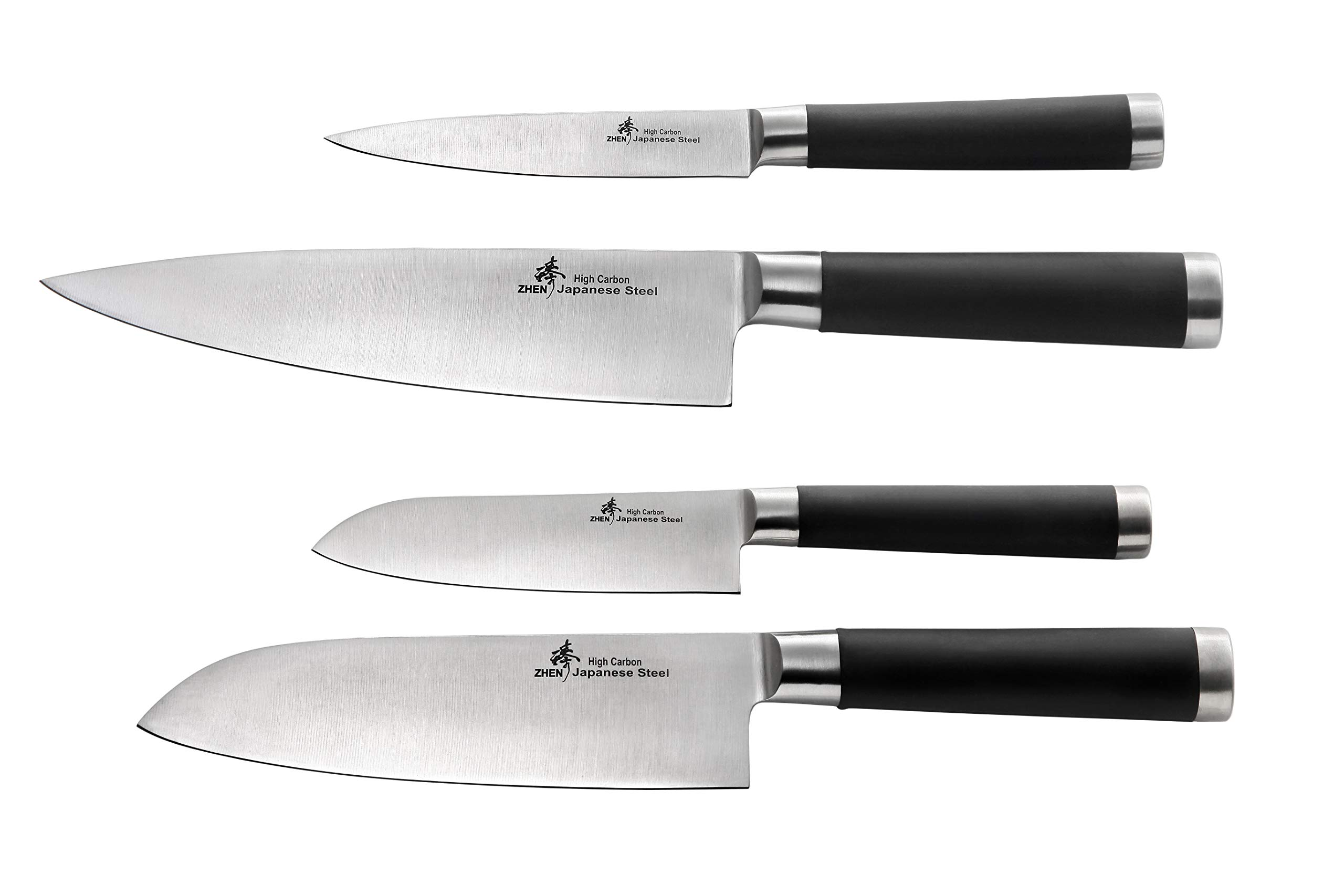 ZHEN F6F7 Japanese 440C High Carbon 4-Piece Knife Set 8-inch/7-inch Silver