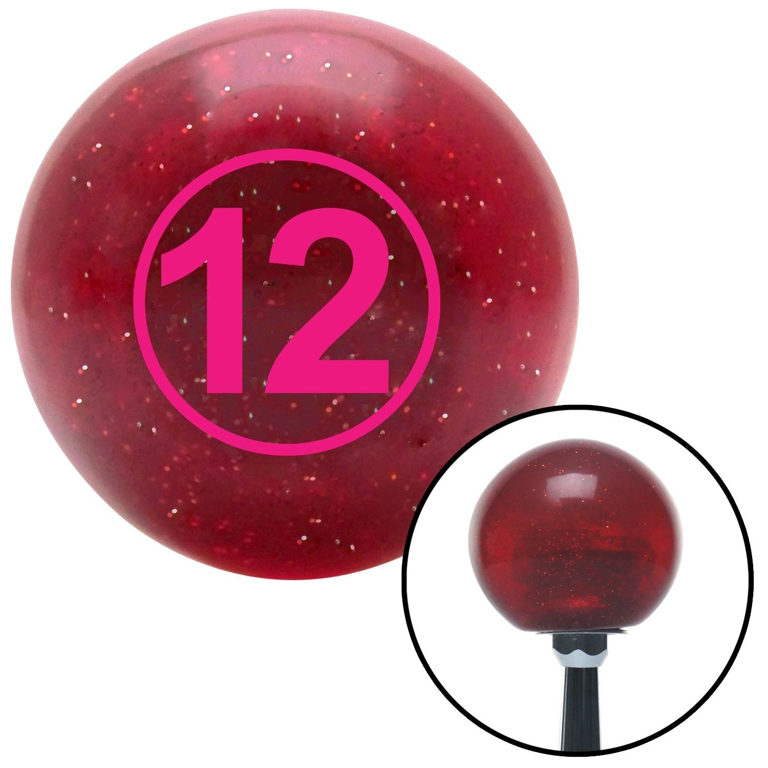 Pink Ball #12 American Shifter 47433 Red Metal Flake Shift Knob with 16mm x 1.5 Insert