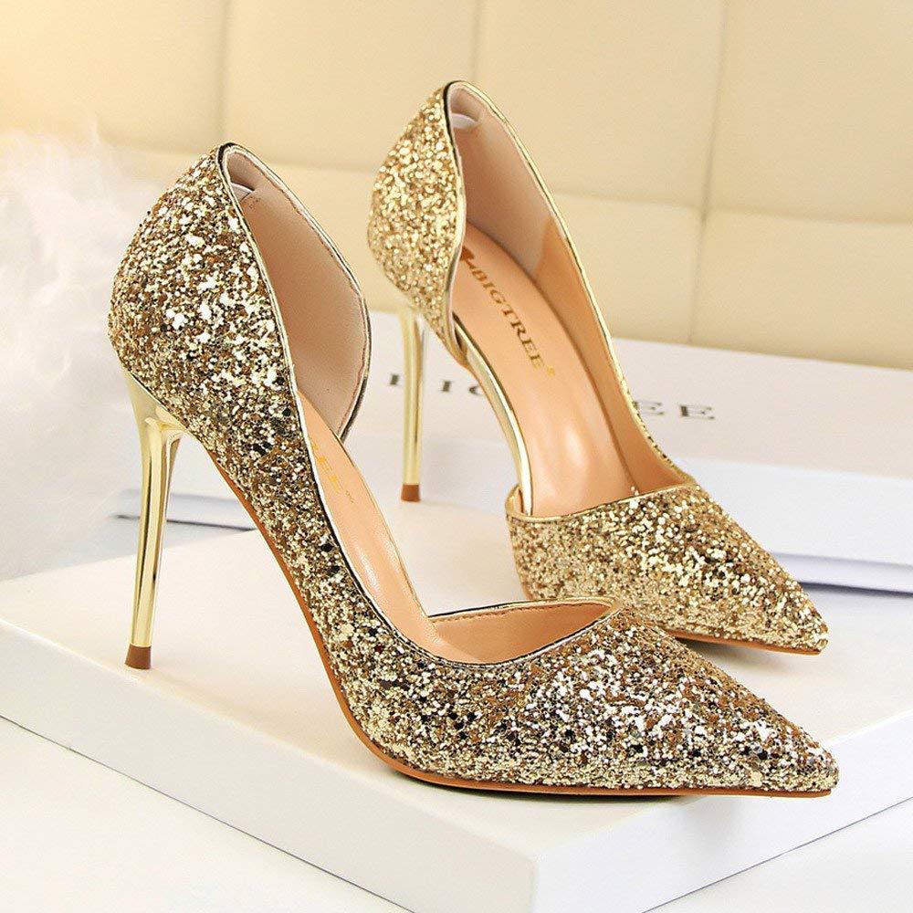 Schuhe Damen Stiefel Mode Mode Mode Einzelne Schuhe Frauen Pumps Extrem Sexy High Heels Damen Schuhe Dünne Fersen Weibliche Schuhe Erbsenschuhe Stiefel (Farbe   Gold, Größe   CN 35=EU 36) 8e47b5