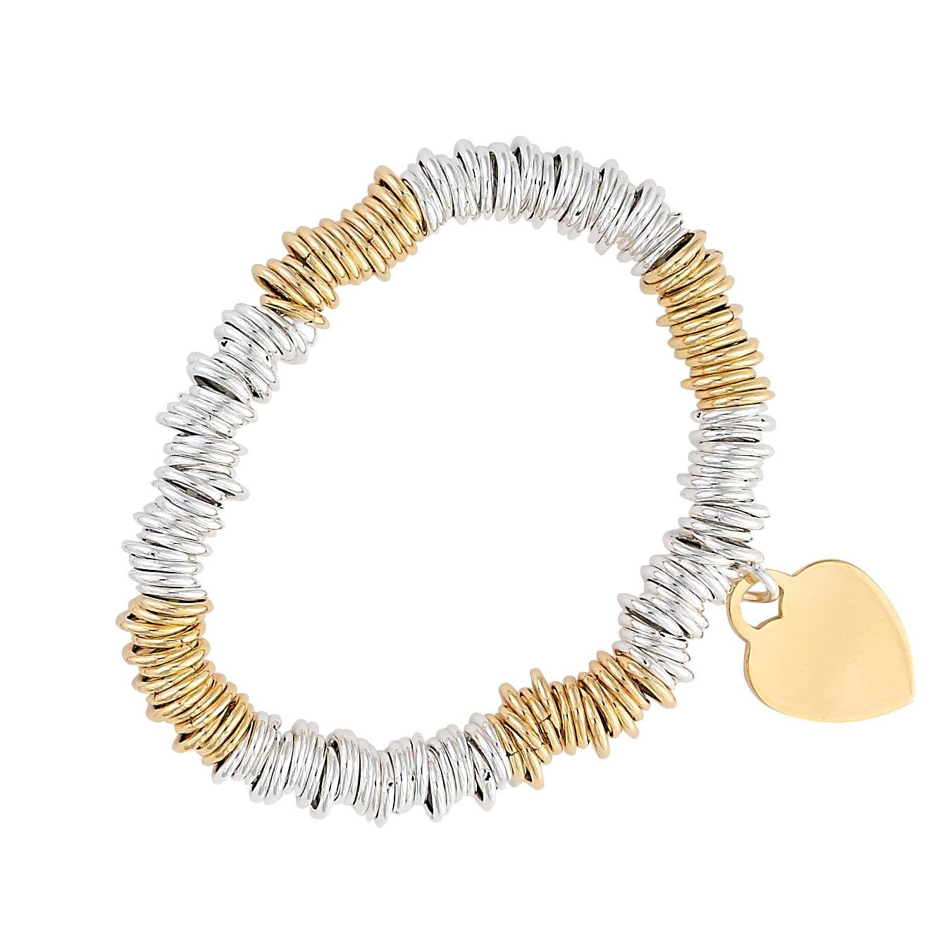 Sterlings Silver & Gold Plated Stretch Loop Linked Bracelet 8'' Free Gift Pouch