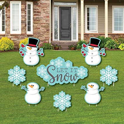 Christmas Lawn Decorations.Let It Snow Snowman Yard Sign Outdoor Lawn Decorations Christmas Holiday Yard Signs Set Of 8