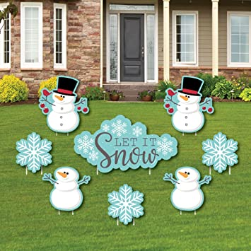 let it snow snowman yard sign outdoor lawn decorations christmas holiday - Christmas Lawn Decorations Amazon