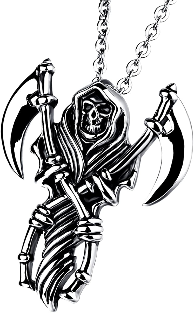 """Cupimatch Men Gothic Biker Stainless Steel Death Grim Reaper Skull with Scythe Pendant Necklace with 22"""" Chain"""