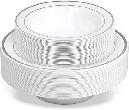 50 Disposable White Silver Trim Plastic Dessert Bowls Safe /& Reusable and Great for Parties 50-Pack by Bloomingoods SMALL 6 oz Premium Heavy Duty Disposable Dinnerware with Real China Design
