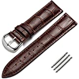 omyzam Watch Band Genuine Calf Leather Replacement Watch Strap Fit for Traditional Watch, Sports Watch or Smart Watch 18mm Brown
