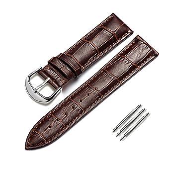 Correa De Reloj Cuero Genuino del Becerro Correa De Repuesto Ajuste para Reloj Tradicional Reloj Deportivo Reloj Inteligente Accesorios22mm Marrón: ...