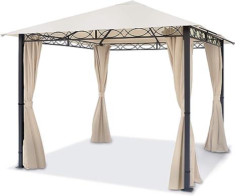 TOOLPORT Cenador de jardín 3x3 m cenador Impermeable pabellón con 4 Partes Laterales 280g/m² Lona de Techo en Carpa de Fiesta Beige: Amazon.es: Jardín
