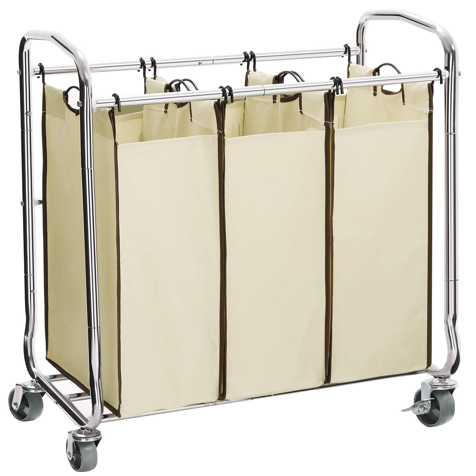 SONGMICS 3-Bag Laundry Sorter Cart on Wheels, Heavy Duty Hamper with Removable Bags, Beige, URLS72MZ