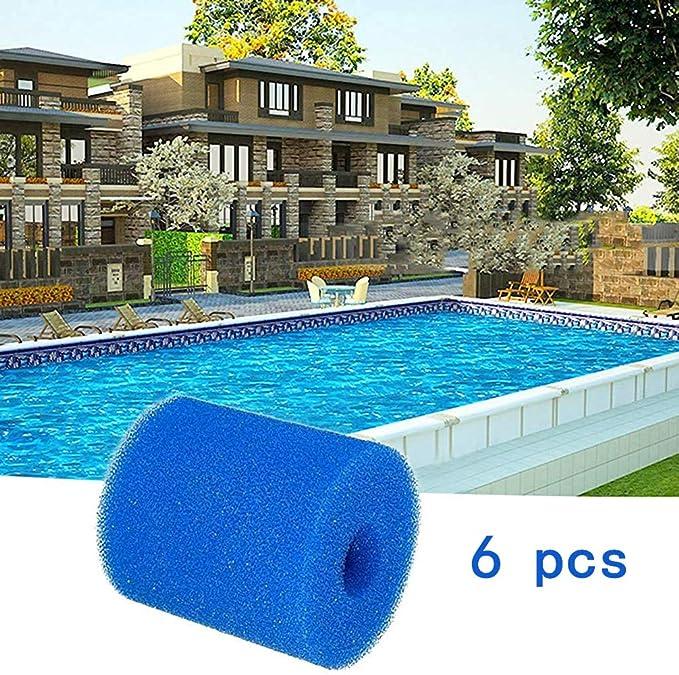 ZESHIZE Filtro de espuma piscina, cartucho de filtro para Intex H tipo esponja, reutilizable, 6 unidades.