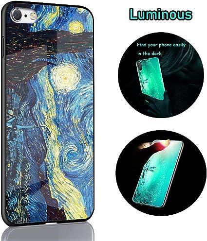Cover iPhone 8 Plus Custodia [Disegno Si Illumina] Nottilucenti Luminoso Cristallo, Cornice in Silicone Morbido Vetro Temperato Duro Antiurto Cover ...