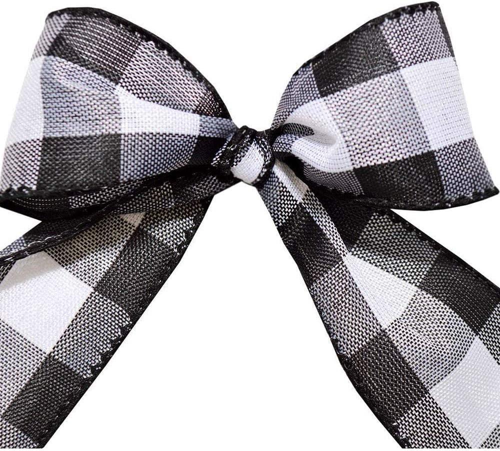 Black Gingham 1.5 inch x 50 yd Cambridge Wired Plaid Ribbon