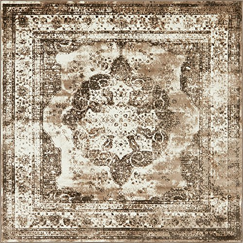 - Unique Loom Sofia Collection Traditional Vintage Light Brown Square Rug (8' x 8')