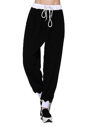 Pantalon Baggy Jogging Sarouel Haren Pantalon Couleur Uni Femme ... d4cfa07fdf4