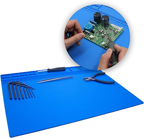 Large Soldering Mat Pad Silicone Heat Resistant Mat 932 F Hot Air Rework Mat Pad Repair Mat for iPad,iPhone,Circuit board and other Electronics Repairing 15.8 x 11.8 Inches Blue