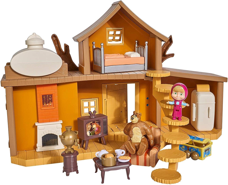 Simba 109301032WEB Masha y Michka - Casa de Michka con 2 Pisos, Funciones sonoras, 2 Figuras y Muchos Accesorios incluidos
