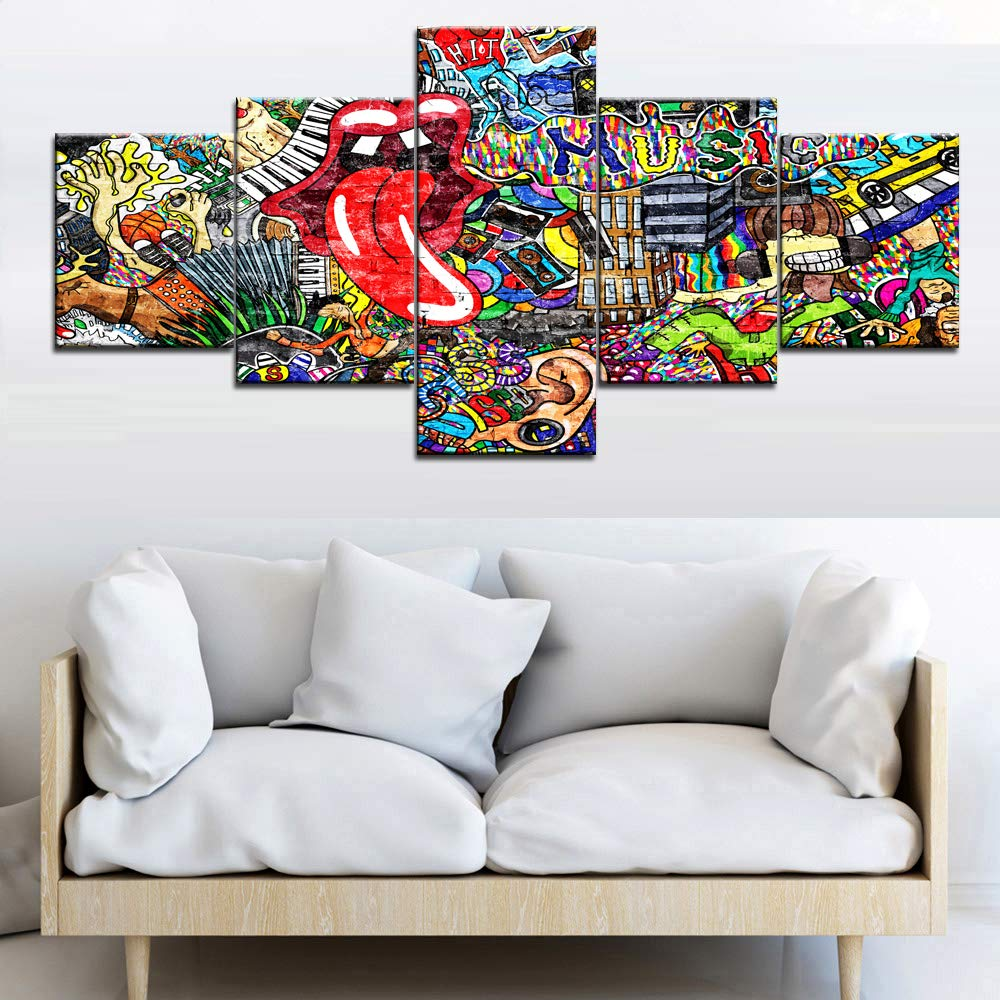 Graffiti Paintings for Wall House Decorations Living Room 5 Pieces Modern Canvas Pictures Colorful Music Multi Piece Art Collage on Brick Wall Home Decor Artwork Framed Ready to Hang(50''Wx24''H)