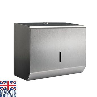 Dispensador de toallas de mano pequeño, de acero cepillado, de metal, plegable,