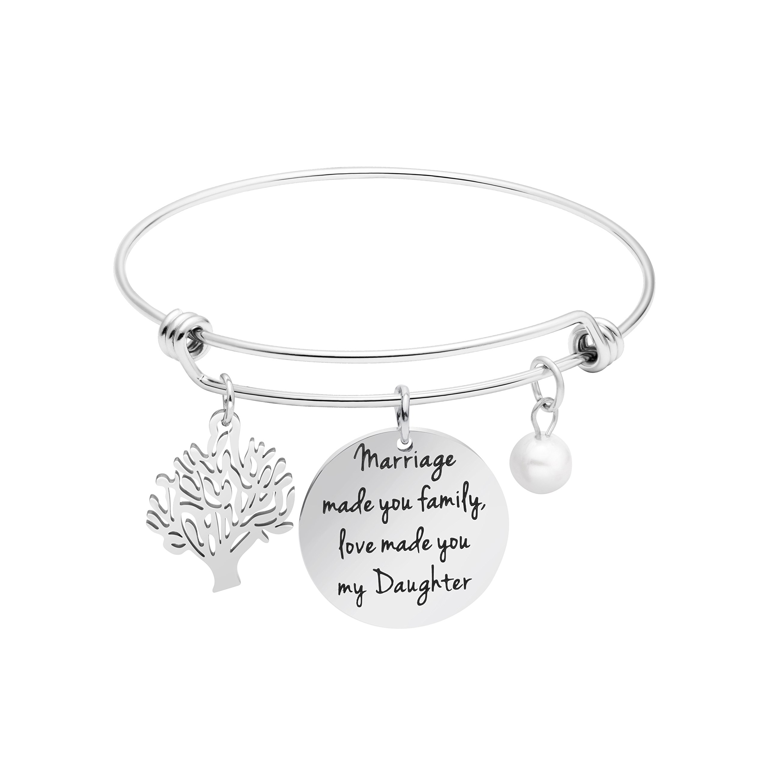 Awegift Wedding Gifts for Daughter in Law Expandable Charm Bracelet Bride Jewelry for Her Stepdaughter Present