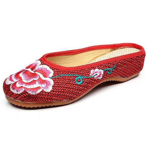 Qhome para mujer zapatillas de suela antiguo Beijing ropa estilo chino Oxfords peonía bordado HOGAR lienzo: Amazon.es: Zapatos y complementos